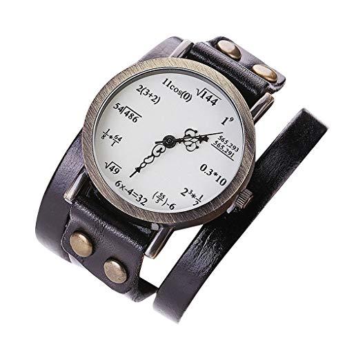 Sunlera Women Girls Leather Watch Math Formula Equation Watch Women Bracelet Clock Number Quartz Clock