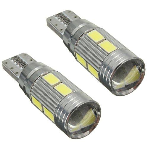 TOOGOO(R) 2 X Lampade T10 W5W 5630 10 LED SMD CANBUS luce bianca 6000K Auto 5W