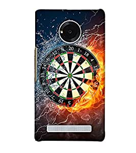 PrintHaat Designer Back Case Cover for YU Yunique :: YU Yunique YU 4711 :: YU Yunique YU4711 (dart board in water and fire :: tough competition :: lightening :: water splash :: wild fire :: in yellow, black, blue and white)