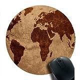 Tom Motif rond en caoutchouc Tapis de souris carte du monde sur papier de vieux Jeu rond Mouse Pad 20x 20cm Bureau Tapis de souris Trro0702008
