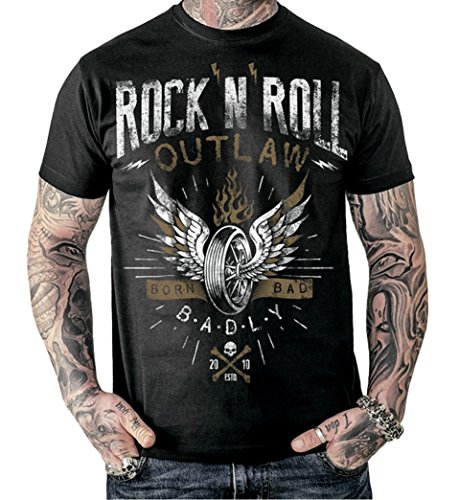 Badly Rock ´n´ Roll Outlaw T - Shirt Rock n Roll Biker Tattoo - Unisex Schwarz
