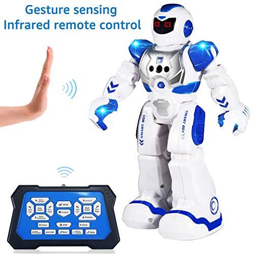 ETEPON Ferngesteuerter Roboter für Kinder, intelligenter programmierbarer RC Roboter Spielzeug mit Gestensteuerung, LED Augen und Musik, Beste Weihnachten und Geburtstagsgeschenke für Kinder