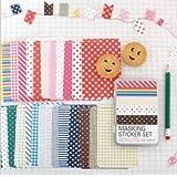 Deco Cinta de enmascarar Craft pegatinas Tin Set Scrapbooking Diario regalo de etiquetado (Tin Case, Basic)