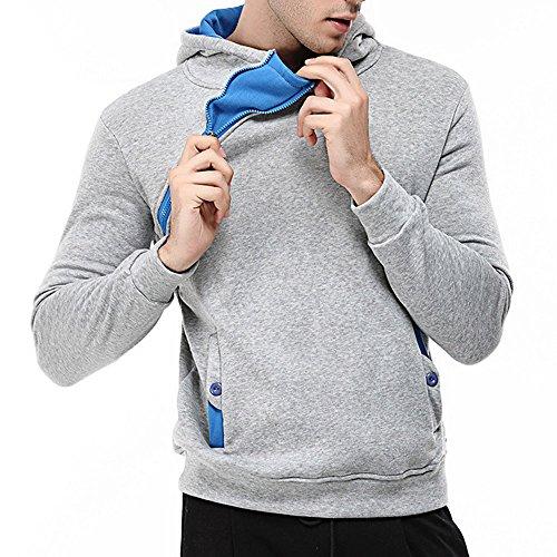 Kapuzenpullover Mode Herren Lange Ärmel Sweatshirt Kapuzenpullover Kapuzenpulli Tops beiläufiger Jacke Taschen Mantel Schrägem Reißverschluss Outwear Baumwolle Sweatshirt
