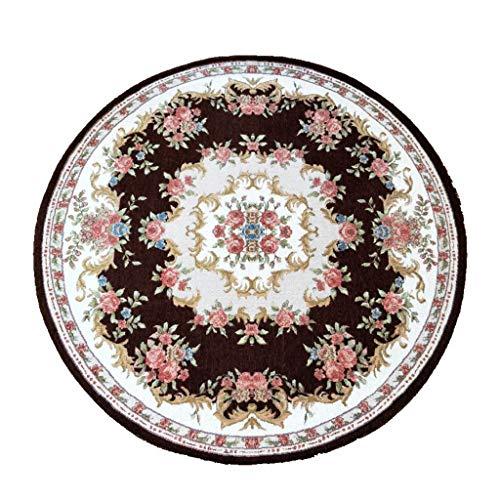 YF-Carpet Runde Teppiche Retro Floral Shag Teppich rutschfeste Webmuster Maschinenwaschbar Für Wohnzimmer Schlafzimmer Esszimmer (Runde 90 cm / 100 cm / 120 cm / 160 cm Durchmesser) (Shag Floral Teppiche)