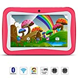 Qimaoo 7 Zoll Kinder Tablet Android, Tablet Kids Bilige Tablet PC 1G RAM+8G ROM Android 5.1 Quad Core 1.2 GHz mit Silikonhülle Pink