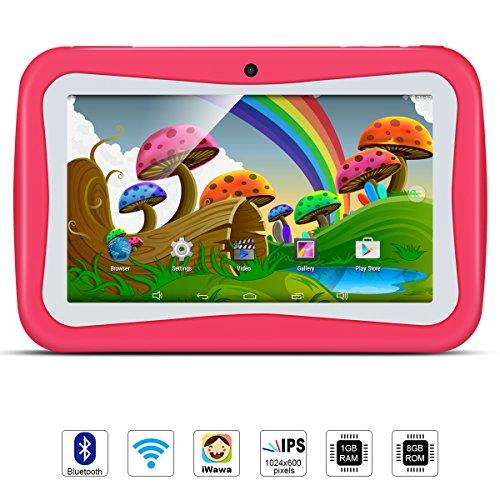 Tablet Para Niños, QIMAOO, Tablet Infantil de 7 Pulgadas iWawa Software Pre instalado, Android 5.1, Lollipop Quad Core Tablet Externa 3G,8GB ROM, 1GB RAM, Wifi ,Bluetooth, Doble Cámara, Google Play(con Funda De Silicona Rosa)