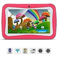 Tablet Para Niños, QIMAOO, Tablet Infantil de 7 Pulgadas iWawa Software Pre-instalado, Android 5.1, Lollipop Quad Core Tablet Externa 3G,8GB ROM, 1GB RAM, Wifi ,Bluetooth, Doble Cámara, Google Play(con Funda De Silicona Rosa)