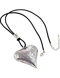 Lagenlook large oversized chunky textured heart burnished gold colour statement pendant black leather cord long necklace