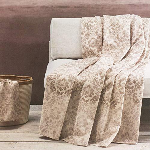 Zucchi telo arredo multiuso basics copridivano copriletto singolo/piazza e mezza 180x270 cm foulard golden city beige marrone col. 6