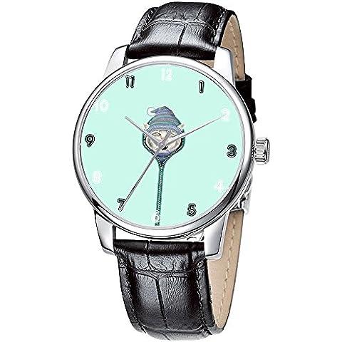 Topgraph Correa de Cuero Reloj de las Mujeres Con Diseño de Diseño lindo gatito 20MM