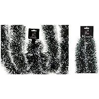 6 x Navidad con punta de nieve, color verde oscuro y negro con puntas blancas 3 m x 10 cm