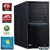 Captronic® Windows 7 Professional 64bit (Lizenz + Datenträger) | QuadCore Silent PC Front USB 3.0 AMD FX-Series FX-4300 4x 3,80GHz (Turbo bis 4000MHz) | KINGSTON 8GB DDR3-1600 | 24x DVD-Brenner | 2000GB HDD SATA3 | ATI Radeon HD 3000 1GB VGA/DVI | CardReader | 7.1 Sound | GigabitLAN | Design Gehäuse Schwarz