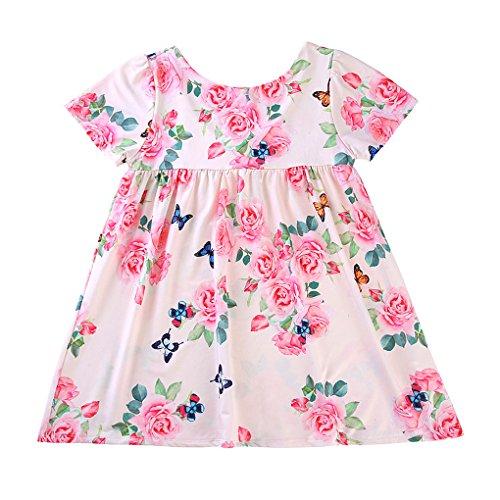 Ruiboury A-Linie für Kinder kurzes Kleid Mädchen mit Blumenmuster Short Sleeve Scoop Neck Kleid Linie Scoop Neck