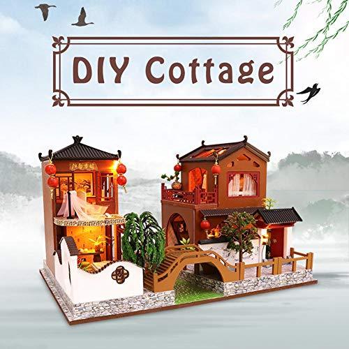 zaote Puppenhaus Spielzeug chinesischen traditionellen Stil handgefertigte architektonische Geburtstagsgeschenk Modell DIY Cottage cozy -