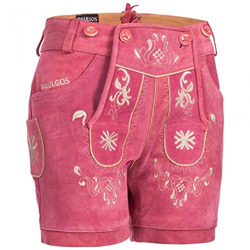 PAULGOS Damen Trachten Lederhose + Träger, Echtes Leder, Kurz in 8 Farben Gr. 34-50 M3, Damen Größe:44, Farbe:Pink