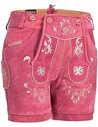 PAULGOS Damen Trachten Lederhose + Träger, Echtes Leder, Kurz in 8 Farben Gr. 34-50 M3