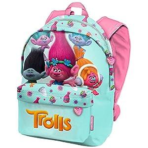51yArgOzPTL. SS300  - Trolls - Mochila Infantil Escolar Casual Vuelta al Cole Mochila Pequeña Para Niña, Turquesa, (Karactermania 94229)