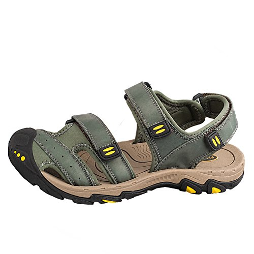 Aiyuda Herren Strand Sandalen Leder Sommer Wandern Wandern Wasser Schuhe Armeegr¨¹n