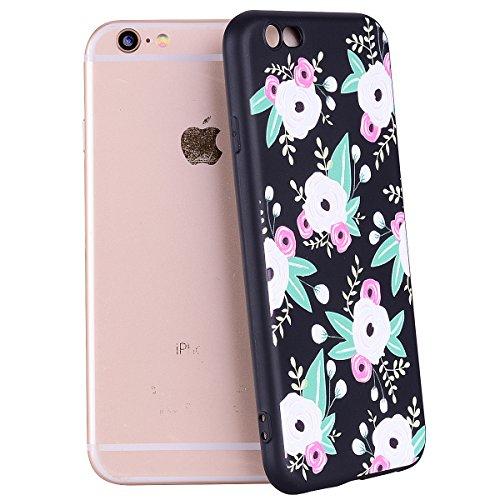 iPhone 6 Handyhülle,iPhone 6S Silikon Schutzhülle,iPhone 6/6S 4.7 Handyhülle,Hpory Flexible Soft TPU Colorful Painted Muster Ultra-thin Schwarz Silicone Gel Handyhülle Handy Gehäuse Hülle für Mädchen Blumen#1