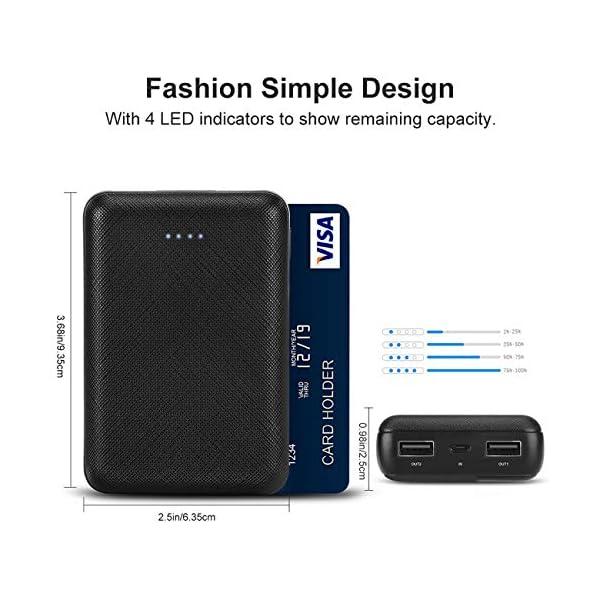 POSUGEAR PowerBank 10000mAh, Caricatore Portatile Mini, Batteria Esterna con 2 USB Porte 5V (2.1A + 1A), per iPhone… 2 spesavip