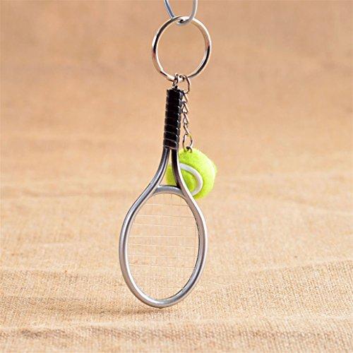 yibenwanligod Mini Tennis Ball Schläger Charm Anhänger Sport Auto Schlüsselanhänger Geschenk
