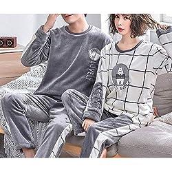 SY Pijamas de Pareja/Traje de Lana de Coral de Otoño E Invierno para Mujer/Engrosamiento de Franela Más Terciopelo Cálido Servicio a Domicilio para Hombres,UNA,L + L