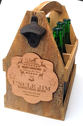 Gravur personalisierbar Weihnachten Holz Vintage Bier Caddy Halter Öffner Opas Caddy