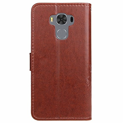 Double Magnetic Back Sucktion Retro Style PU Leder Flip Stand Case mit Kickstand und Wallet Beutel Funktion für Asus ZenFone 3 MAX ZC553kl ( Color : Black ) Brown