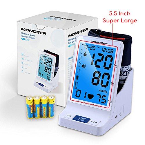 Mondeer Vollautomatisches Oberarm-Blutdruckmessgerät,Digital Blutdruckmesser,Blutdruck- und Pulsmessung,Elektronisches Blutdruck Messgerät Mit WHO Anzeige und großem Display für zwei Nutzer (2x 90 speicherbare Messungen)