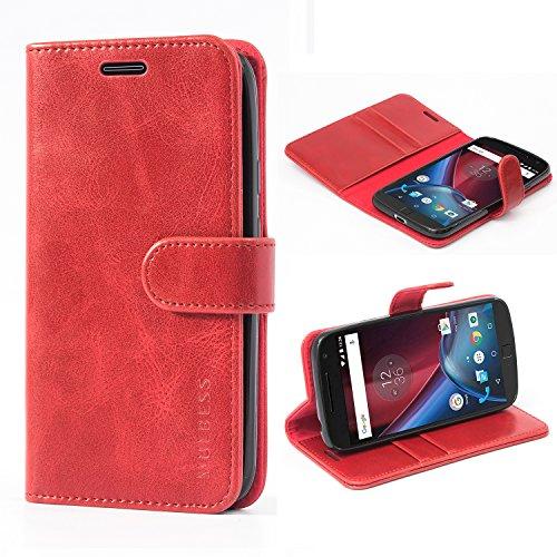 Mulbess Ledertasche im Ständer Book Case / Kartenfach für Lenovo Moto G4 Play Tasche Hülle Leder Etui,Wine Rot