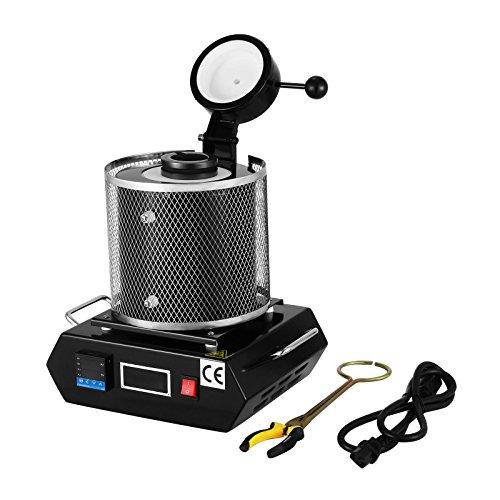 Ambesten 3KG Goldschmelzender Ofen 1150℃ Digital-Schmelzofen Gussmaschine 2100W Heizleistung Refining Edelmetalle Gold, Silber, Zinn Aluminium (6.6lb / 3kg)