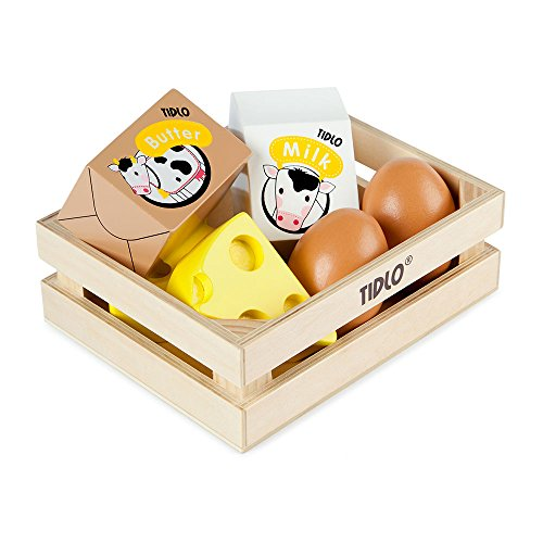 Tidlo Wooden Eggs and Dairy Food Set