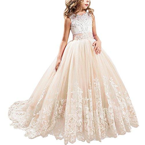 IBTOM CASTLE Blumenmädchen Festkleider Kleid Lang Brautjungfern Hochzeit Festlich Kleidung Festzug #5 Champagner 8-9 Jahre