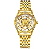 binlun Damen 18K Vergoldet Luxus Automatik Uhr Skelett Damen Kleid Armbanduhr