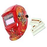 Máscara de Automático Soldadura Oscurecimiento Solar Casco Arco Tig Mig Cráneo - Roja
