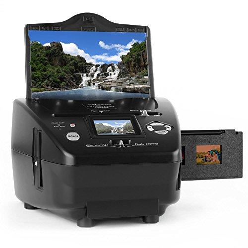 OneConcept 179 - Combo Dia-Film-Foto-Scanner, Computer-unabhängig, 9x13, 10x15 und 13x18 cm, Dia-Film, 35 mm Negativ-Film, Slideshow/Diashow-Funktion, Mini-USB-2.0-Port, SD-Slot, schwarz
