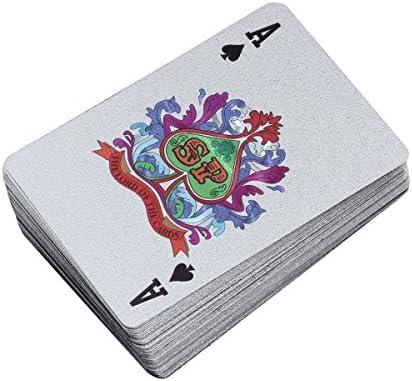 STOBOK Cartes à Jouer dorées à la Feuille Feuille Feuille de Poker 100 Dollars Poker Joker Deck (Argent) 2d7829