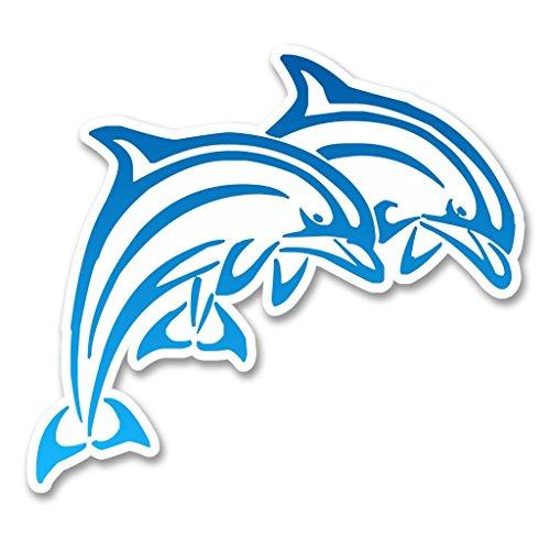 2 x 30cm/300mm Blue Dolphins Vinyl SELBSTKLEBENDE STICKER Aufkleber Laptop reisen Gepäckwagen iPad Zeichen Spaß #6245