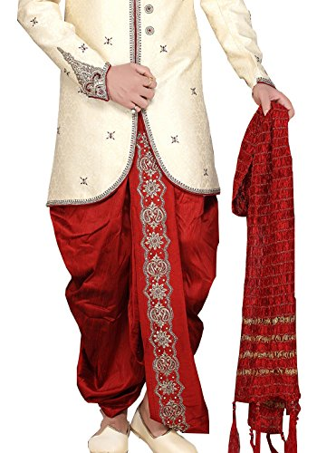 Romano Men's Cotton/Georgette Sherwani Dupatta Set (Red_Shimmery_Zari_Dupatta_Mens_Red_Free Size)