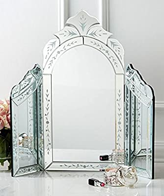 Dressing Table Mirror Large Silver Venetian Triple Folding Table Mirror Vintage