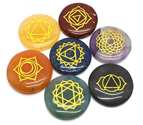 Heilung Kristalle 7poliert, graviert Steine zum Balance Chakren Holistic Health Care Products (Heilung, Chakra-kristalle)