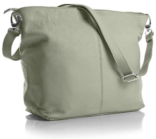 Big Handbag Shop mittelgroße Damen Schultertasche aus echtem italienischem Leder Hellgrau