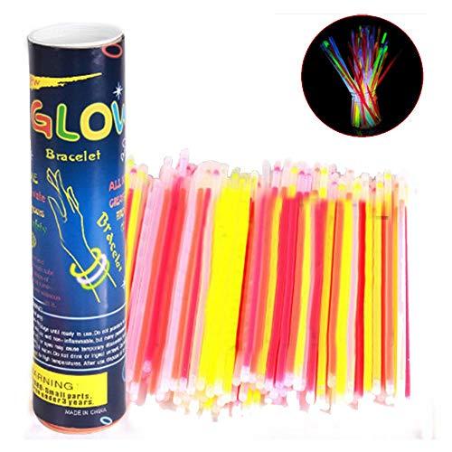 AOLVO Glow Sticks Bulk, 100 Unidades de Pulseras de Cuentas...