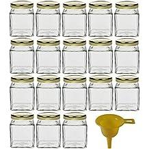 Viva Haushaltswaren Set of 18 / Small Glass Jam Jars Spice Jars 106 ml with Gold
