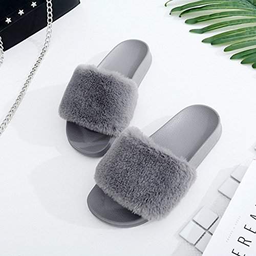 LEPAKSHI Gray, 7 : New Winter Indoor Slippers Plush Home Shoes Fashionable anti - skid - resistant flat - hair slippers lady shose