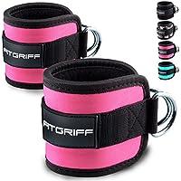 Soporte trabillas (acolchada) de fitgriff (2pieza)–para entrenamiento en el cable Tren–para Mujeres y Hombres–2años de garantía, rosa