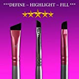 Star Beauty Eyebrow Brush Set 3pcs Kit Premium Quality Synthetic Brushes FIRM HAIR Precision Shaping