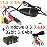 ClimaxDigital USB 2.0 VHS to DVD Converter/DVD Maker. For Windows 10, 8.1, 8, 7, Vista & XP. Easy Way to Convert and Edit your VHS video Tapes to Quality DVD. Software Bundle includes ArcSoft ShowBiz DVD 3.5, +Support Xbox 360/PS3 Colour Recording+ upload video to YouTube. Including  AV cable and SCART Adaptor