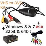 ClimaxDigital USB 2.0 VHS to DVD Video Capture/Converter/DVD Maker Kit. For Windows 10, 8.1, 8, 7, Vista & XP. Easy Way to Convert and Edit your VHS video Tapes to Quality DVD. Software Bundle includes ArcSoft ShowBiz DVD 3.5, +Support Xbox 360/PS3 Colour
